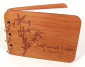 Real Wood Guest Book Photo Album for Weddings and Special Events - Leafy Design