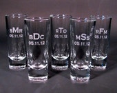 Personalized Etched Shot Glasses for your Wedding Party - SET OF 6