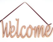 Welcome Wood Wall Word Sign - Choose Your Color