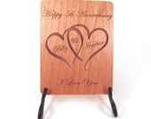 Anniversary Card - 5 Year Anniversary Wood Card - Personalized Engraving