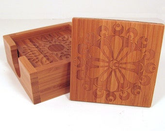 Bamboo Coasters Laser Engraved Decorative Set