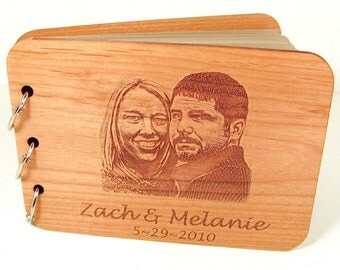 Custom Photo Guest Book - Your Photo and Wording Engraved on the Cover