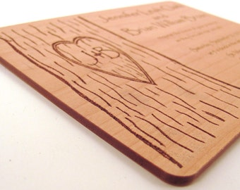 Engraved Wooden Wedding Invitation - Real Wood Invitation