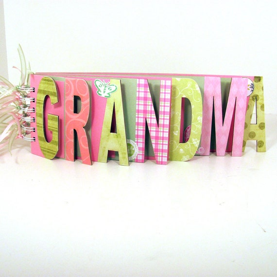 Grandma Photo Album Scrapbook Chipboard Word Album - Pink and Green