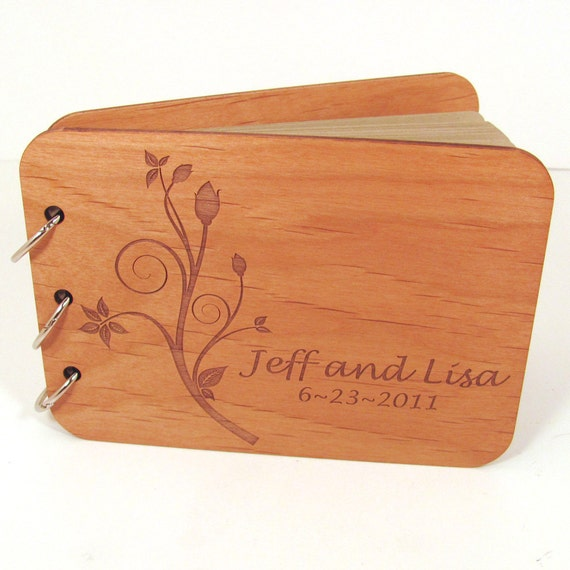 Real Wood Guest Book Photo Album for Weddings and Special Events - Flower Bud Design