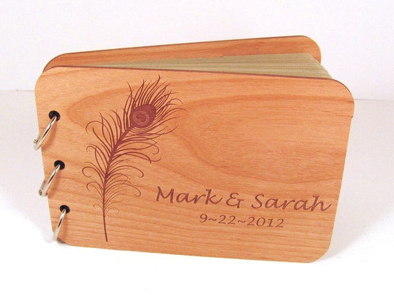 Wood Guest Book Photo Album for Weddings and Special Events - Peacock Feather Design
