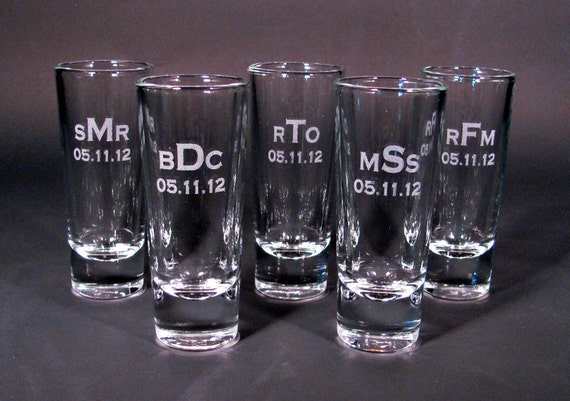 Personalized Etched Shot Glasses - SET OF 4