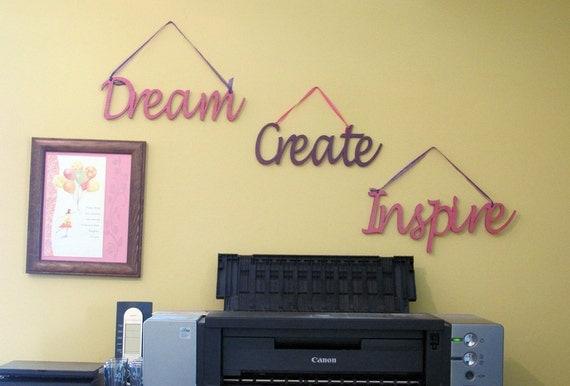 Dream Create Inspire Wood Wall Word Signs By Memoriesforlifesb