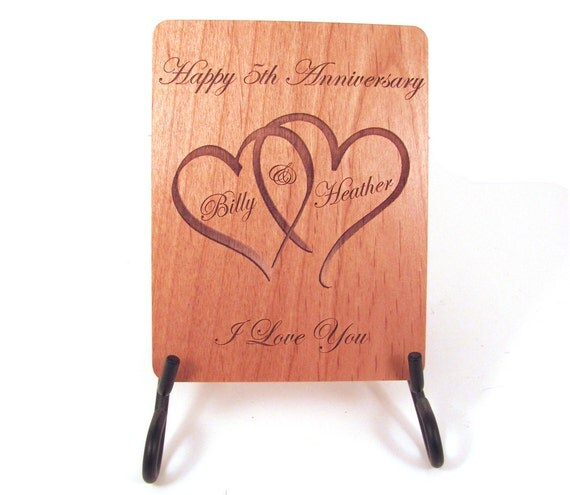 Anniversary Card 5 Year Anniversary Wood Card Personalized