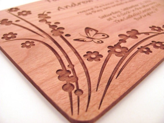 Wooden Wedding Invitation - Real Wood Invitation - Floral Butterfly Design