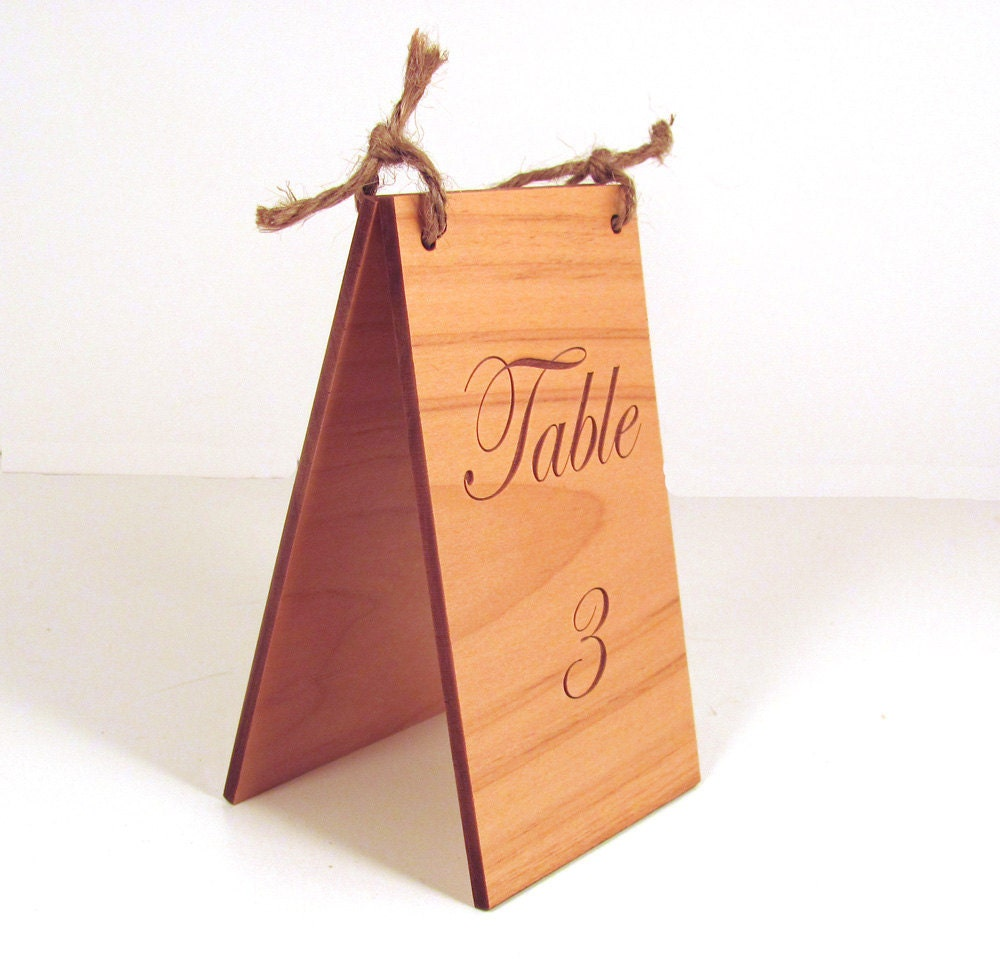 Custom engraved wood table numbers for Table numbers