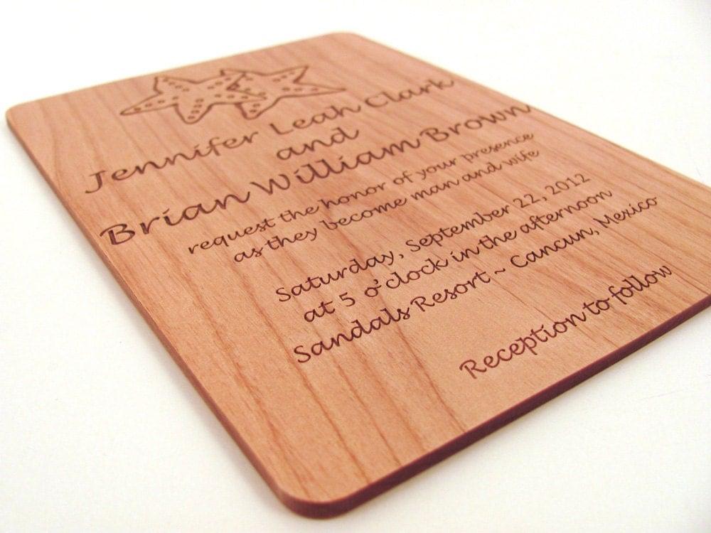 Destination Wedding Invitations Etsy: Destination Wedding Invitation Engraved Real Wood Invitation