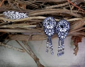 SALE - Art Deco Empress - Bead Embroidered Earrings