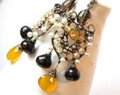 Princess Turandot - pure silver,smoky quartz,chalcedony earrings