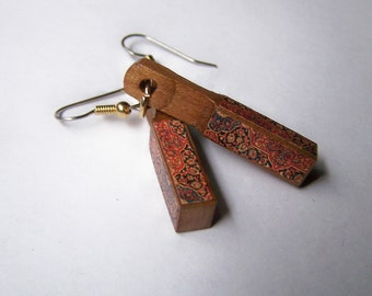 Recycled Piano Rectangular Drop Earrings WOODEN Jewelry