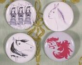 Horse war - pinback buttons \/ badges