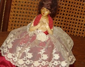 Reserved for Barbara Spooky Boudoir Chalk-ware Half Doll Pin Cushion