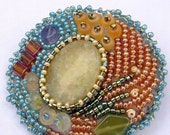 Brooch  Pin,  Seed Bead Jewelry with Gemstones  in beige, tan, blue, green, earth tones,  Handmade