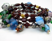 Wrap Bracelet, Brown Beaded  Cuff Bracelet with Charms, Unique Jewelry
