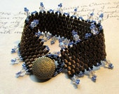Seed Bead Bracelet, Bronze Cuff, Crystal & Blue Accents, Unique Jewelry