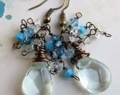 Aqua Blue Earrings, Crystal Earrings, Cluster Earrings, Bead Earrings