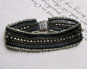 Black Bead Bracelet & Pyrite, Seed Bead Cuff, Friendship Bracelet,  Beaded Jewelry