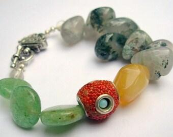 Beaded Bracelet, Agate, Aragonite and Aventurine Stone Bracelet, Earth Tones, Unique Jewelry