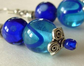 Blue Dangle Earrings, Blue Earrings with Silver Filigree, Beaded Jewelry