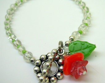 Beaded Bracelet with Flower Charm and Toggle Clasp, Friendship Bracelet,   Gift Ideas