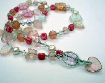 Pink Lariat Necklace, Pink Beaded Necklace, Bohemian Jewelry