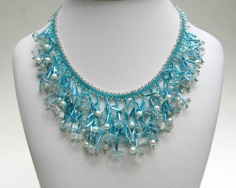 Aqua Bib Necklace, Seed Bead Necklace with Aquamarine Stones,   Unique Jewelry