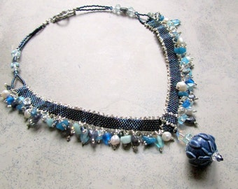Navy Blue Seed Bead Necklace,  Blue Beaded Necklace,  Statement Necklace, Unique Jewelry