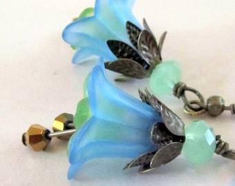 Blue Flower Dangle Earrings,  Victorian Jewelry,  Bridesmaid