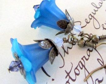 Blue Dangle Earrings, Victorian Jewelry