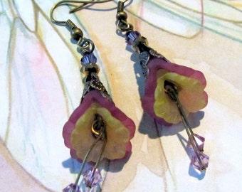 Purple Flower Dangle Earrings, Victorian Jewelry