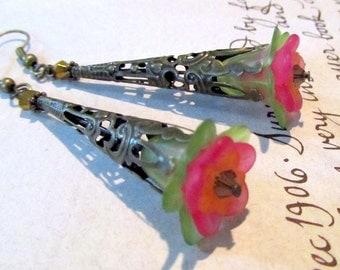 Long Dangle Earrings, Antique Bronze, Green & Pink Flowers, Victorian Jewelry
