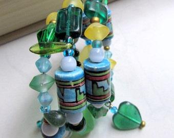 Wrap Bracelet,  Blue and Green Cuff Bracelet,  Resin and Glass Beaded Bracelet