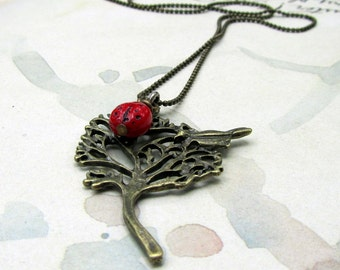 Tree Necklace,  Gold Pendant Necklace with Red Lady Bug Charm, Bird