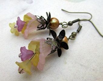 Flower Chandelier Earrings in  Pink Yellow Purple, Victorian Jewelry
