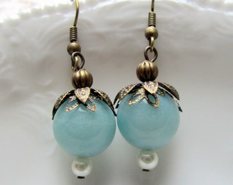 Blue Dangle Earrings with Gold Antiqued Bronze, Victorian Beaded Jewelry