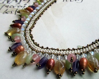 Gemstone Beaded Necklace, Bib Necklace,  Seed Bead Jewelry, Statement Necklace