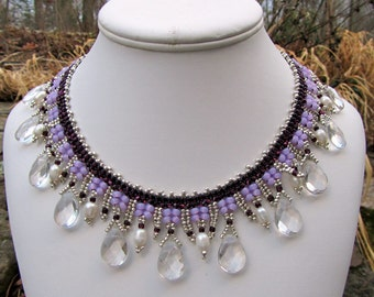 Purple Bib Necklace, Bead Collar, Seed Bead Jewelry,  Statement Necklace, Beaded Jewelry
