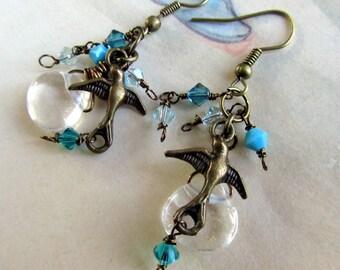 Blue Crystal Dangle Earrings with Birds and Aquamarine Quartz, Aqua Cluster Earrings , Beaded Jewelry