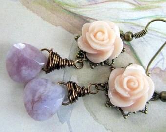 Pink & Purple Long  Dangle Earrings,  Beaded Jewelry,  Bohemian Jewelry