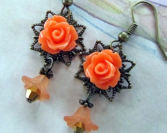Coral Dangle Earrings, Victorian Style Earrings with Peach Flowers and Antiqued Bronze Filigree, Victorian Jewelry