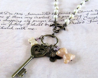 Long  Charm Necklace with Skeleton Key, Teddy Bear, Butterfly &  Flower, Unique Jewelry