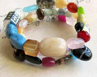 Beaded Bracelet Stone and Glass,  Colorful Wrap Bracelet, Bohemian Jewelry