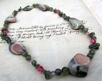 Grey & Pink Stone Necklace, Beaded Jewelry, Labradorite and Pink Opal Necklace