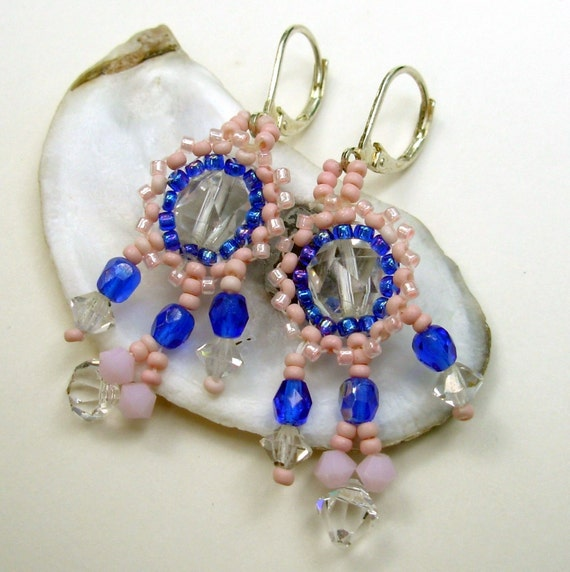 Pink & Blue Chandelier Earrings,  Crystal Earrings with Pink and Blue Seed Beads, Small Chandelier Earrings,  Beaded Jewelry