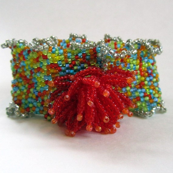 Seed Bead Cuff Bracelet, Colorful Bohemian Jewelry